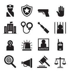 police icons set silhouette vector image vector image