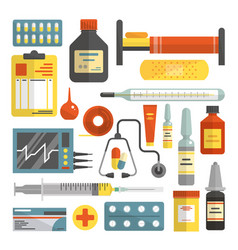 Set of hospital and medical icons in flat vector