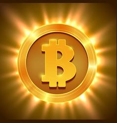 shiny golden bitcoin isolated on white blockchain vector image