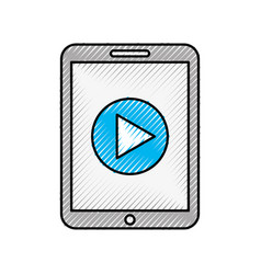smartphone device play button vector image