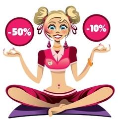 Sport girl doing yoga vector image