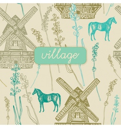 Village Windmill pattern background vector image