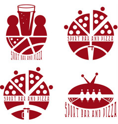 Vintage labels set of sport bar and pizza vector