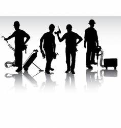 workers with different tools vector image vector image