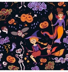 Halloween seamless bright kids doodle pattern vector