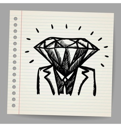 Doodle businessman-diamond sketch concept vector