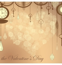 Valentines card with flare heart ans antique vector