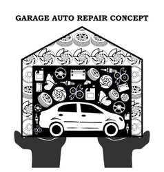 Auto repair services black concept with car icons vector