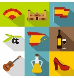 European spain icons set flat style vector
