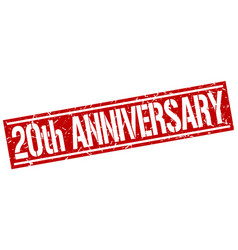 20th anniversary square grunge stamp vector
