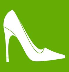 high heel shoe icon green vector image