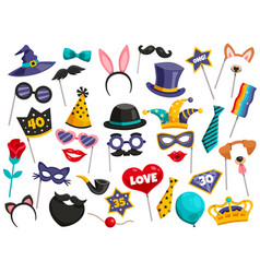 Photo booth party icon set vector