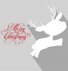 Merry christmas card with deer flat vector
