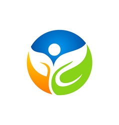 Leaf eco people vegetarian logo vector
