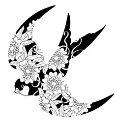 Swallow doodle on white background vector image