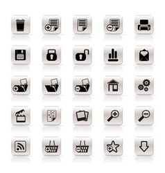 25 simple realistic detailed internet icons vector