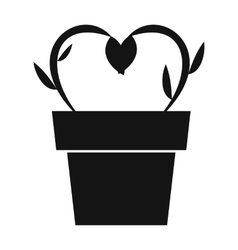 Flowers in a pot simple icon vector image