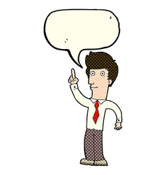 Cartoon friendly man with idea with speech bubble vector