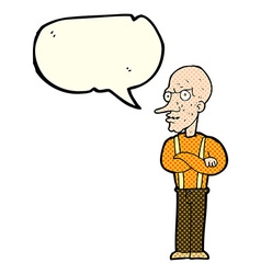 Cartoon mean old man with speech bubble vector