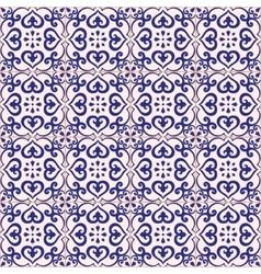 Seamless pattern azulejo light gray and dark blue vector