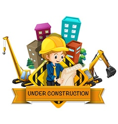 Banner design with engineers and construction site vector