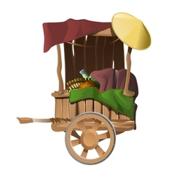 Wooden cart with different products isolated vector