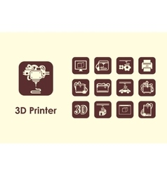 Set of three d printer simple icons vector