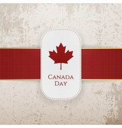 Canada day paper badge with red ribbon vector
