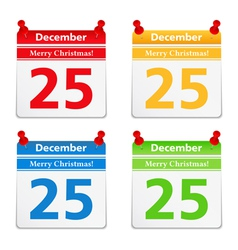 Calendar pages with 25 december vector