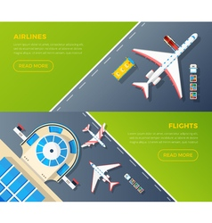 Airport top view horizontal banners set vector