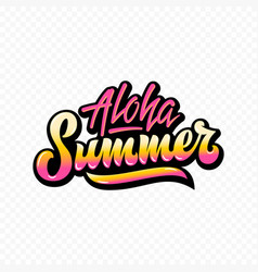 Aloha summer abstract hand lettering sign vector