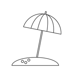 Beach umbrella parasol sun vacation thin line vector