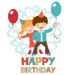 Birthday card with happy kids vector image