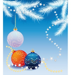 blue christmas background with christmas tree ball vector image