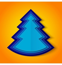 Blue paper christmas tree on orange background vector