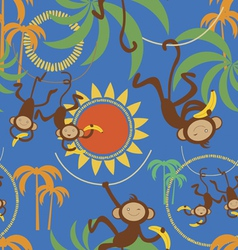 Cartoon seamless pattern with cute monkey vector image