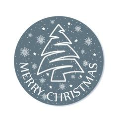 Christmas round card grey vector