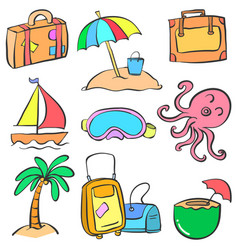Collection element summer doodle style vector