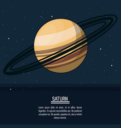 Colorful poster with planet saturn vector