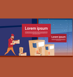 Courier man carry box delivery package post vector