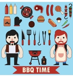 Flat barbecue set vector image vector image