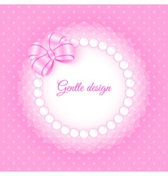 Frame with beads and bow vector
