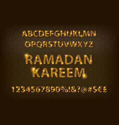 golden letters and figures of the english alphabet vector image vector image