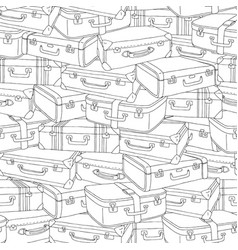 Hand drawn stack of old retro suitcases vector