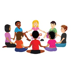 Kids sitting in a circle vector