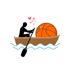 Lover basketball guy and ball ride in boat lovers vector