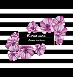 purple flowers card frame on striped vector image