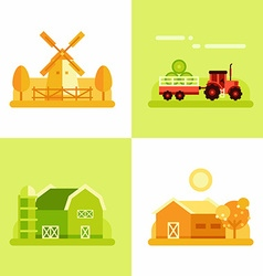 Rural Farm Landscapes Mill Tractor Barn House Set vector image vector image