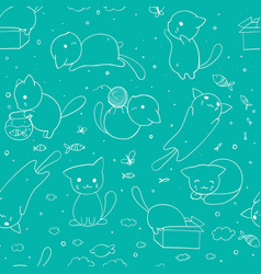 seamless pattern with hand drawn cats blue vector image