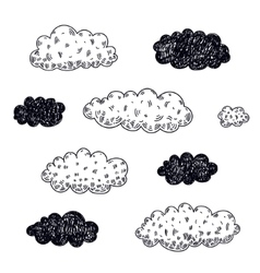 Set of hand drawn clouds vector